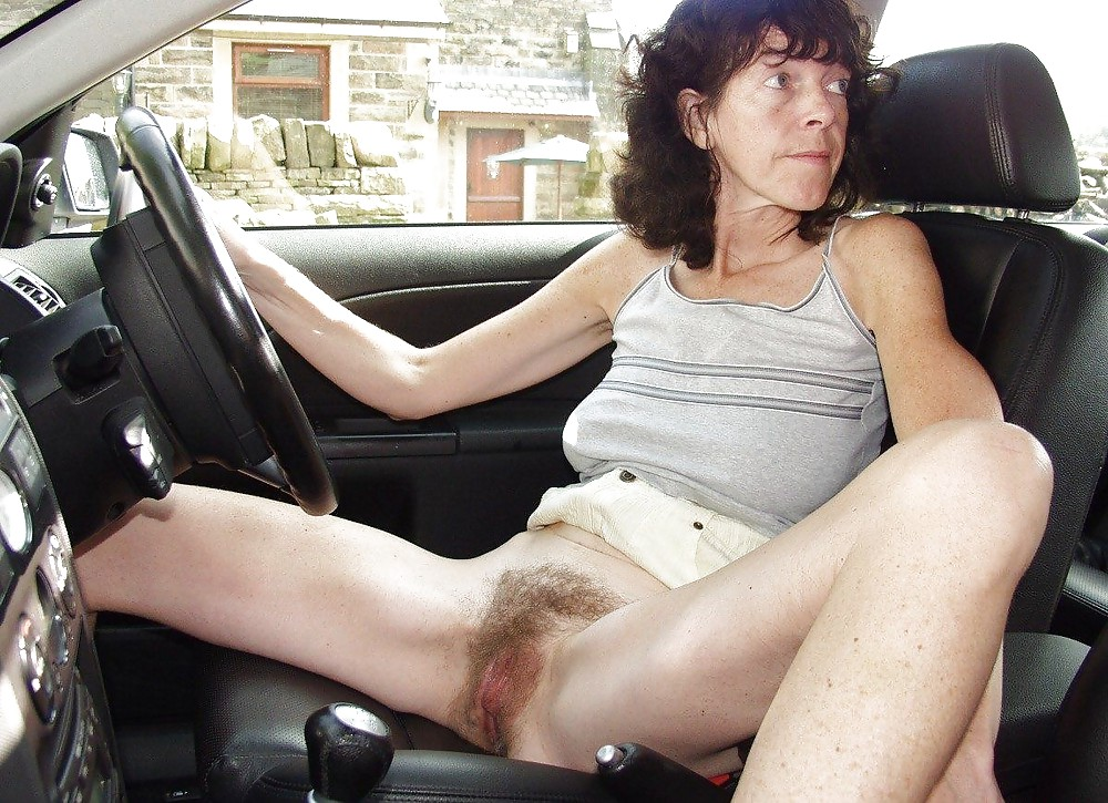 Hairy pussy car